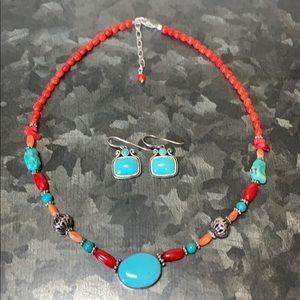 Sterling Silver Turquoise Coral Necklace Earrings